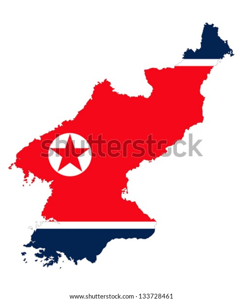 Democratic's People Republic of Korea, detailed outline map and flag over white background.
