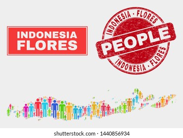 Demographic Flores Islands of Indonesia map abstraction. People color mosaic Flores Islands of Indonesia map of crowd, and red round textured stamp seal. Vector combination for national public plan.