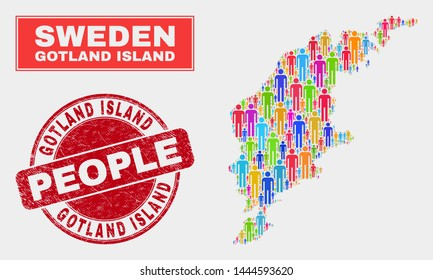Demographic Gotland Island map illustration. People colorful mosaic Gotland Island map of men, and red round dirty seal. Vector combination for national audience presentation.