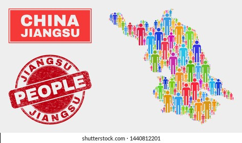 Demographic Jiangsu Province map abstraction. People colorful mosaic Jiangsu Province map of men, and red rounded textured stamp seal. Vector composition for population community report.