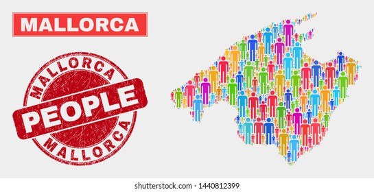 Demographic Mallorca map illustration. People bright mosaic Mallorca map of humans, and red rounded corroded watermark. Vector composition for nation audience report.