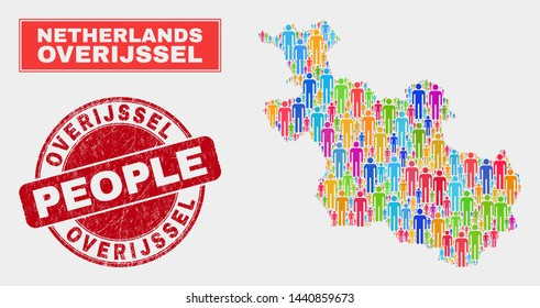 Demographic Overijssel Province map abstraction. People bright mosaic Overijssel Province map of crowd, and red round unclean stamp. Vector combination for national public presentation.