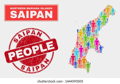Demographic Saipan Island map abstraction. People colorful mosaic Saipan Island map of guys, and red rounded rubber watermark. Vector collage for nation mass representation.