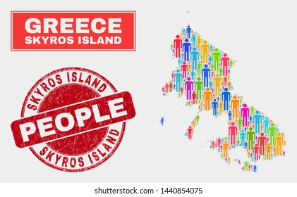 Demographic Skyros Island map illustration. People colorful mosaic Skyros Island map of crowd, and red round scratched seal. Vector collage for nation community representation.