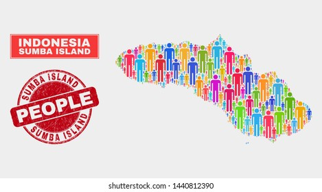 Demographic Sumba Island map abstraction. People bright mosaic Sumba Island map of men, and red rounded grunge watermark. Vector collage for population mass report.