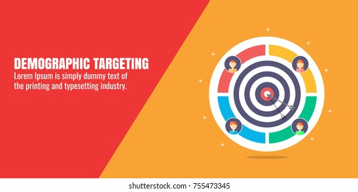 Demographic targeting, audience, digital, marketing technology flat vector banner illustration with icons and texts