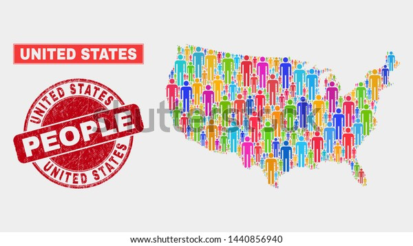 Demographic United States Map Illustration People Stock ...