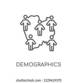 Demographics linear icon. Modern outline Demographics logo concept on white background from Maps and Locations collection. Suitable for use on web apps, mobile apps and print media.