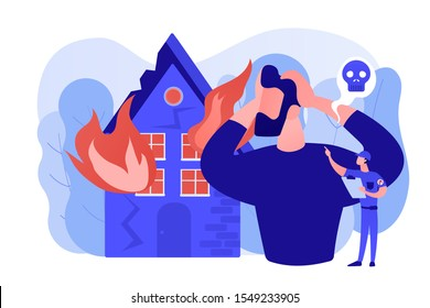 Demolished house in flame, natural disaster. Uninsured burnt property damages. Fire consequences, fire hazards losses, fire victims found concept. Pinkish coral bluevector isolated illustration
