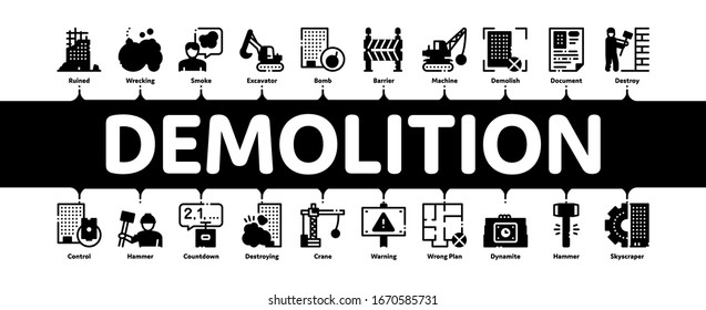 Demolition Building Minimal Infographic Web Banner Vector. Crane With Wrecking Ball And Fence, Hammer And Dynamite Construction Demolition Illustrations
