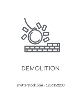 Demolition linear icon. Modern outline Demolition logo concept on white background from Construction collection. Suitable for use on web apps, mobile apps and print media.