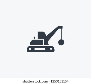 Demolition truck icon isolated on clean background. Demolition truck icon concept drawing icon in modern style. Vector illustration for your web mobile logo app UI design.