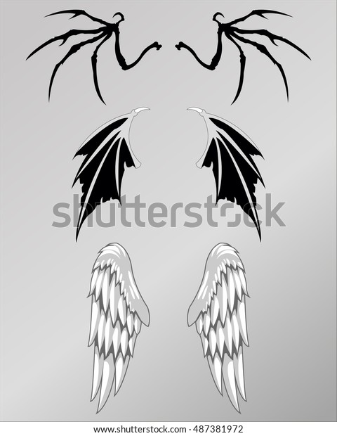 d3d9d5ff662a0 Demon Angel Skull Wings Tattoo Stock Vector (Royalty Free) 487381972
