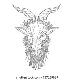 Demon Baphomet. Satanic goat head. Binary satanic symbol. Vector illustration isolated. Tattoo design, retro, music, summer, print symbol for biker black metal themes.