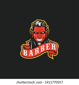 demon barber vector logo illustration