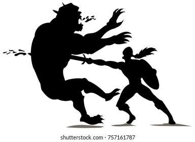 Demon being slayed