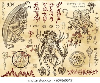 Demon collection with mystic and occult symbols. Hand drawn engraved vector illustration. There is no foreign text in the image, all symbols are imaginary and fantasy ones.