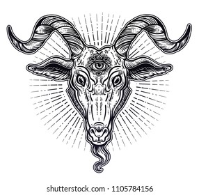 Demon goat Baphomet with sacred occult eye. Satanic goat head. Binary satanic symbol. Vector illustration isolated. Tattoo design, retro, music, summer, print symbol for biker black metal themes.