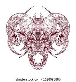 Demon goat Baphomet. Satanic goat head. Binary satanic symbol. Vector illustration isolated.