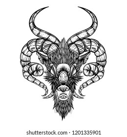 Demon goat Baphomet. Satanic symbol. Outline vector illustration isolated on white background for tattoos, posters, printing on T-shirts and other items.