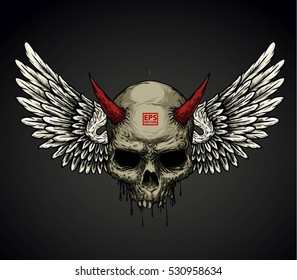 DEMON HEAD SKULL AND WINGS