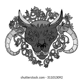Demon head in tribal tattoo style. isolated illustration. great for design t-shirts, merchandise Youth