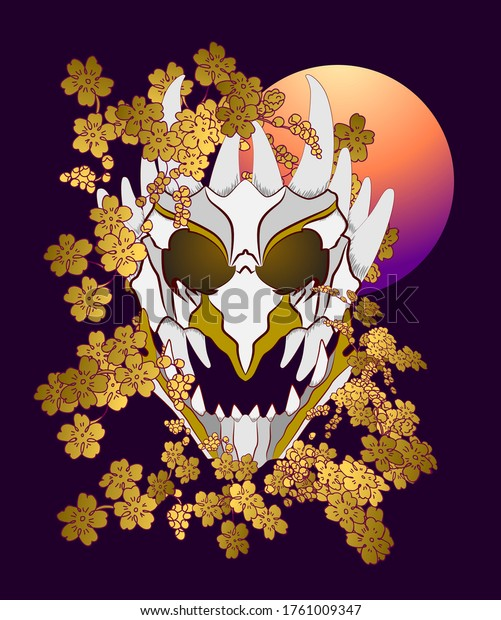 demon mask illustration design for sukajan is mean japan traditional cloth or t-shirt with digital hand drawn Embroidery Men T-shirts Summer Casual Short Sleeve Hip Hop T Shirt Streetwear
