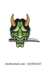 Demon Mask. Oni mask. hannya mask. Japan mask with sword