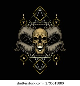demon skull with sacred geometry for commercial use