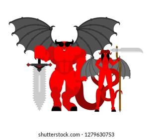 Demon woman and man warrior. Devil Family Strong. berserk Succubus and satan. Hell warriors
