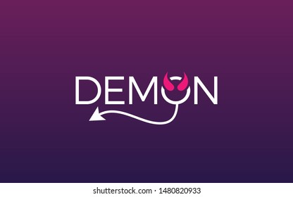 Demon word mark logo with devil tail