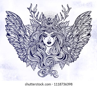 Demonic winged angel magic woman with deer antlerss and long hair. Alchemy, tattoo art, t-shirt design, adult coloring book page. Isolated vector on white background. Pagan goddess, mythical character