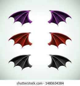 Demons wings set. Halloween decor, vector icons.