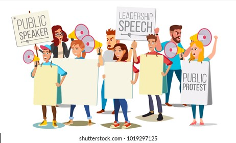 Demonstrate Protest People Shouting Through Megaphone Vector. Public Protest. Social Activist. Loud Announcement. Loud Demonstration, Strike, Speech Concept. Isolated Flat Cartoon Illustration