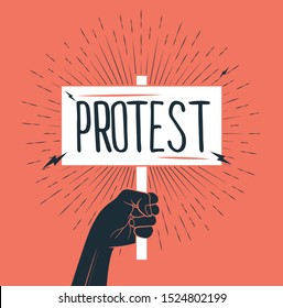 Demonstration, revolution, protest raised arm fist holding banner with protest caption. Black arm silhouette on red background. Vector illustration.