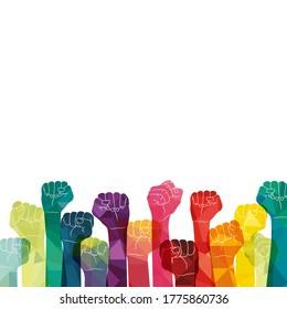 Demonstration, revolution, protest raised arm fists with Fight for Your Rights caption. Fists vector illustration.