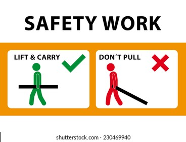 demonstration of safe work on a white background
