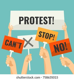 Demonstration signs in human hands with short words of protest