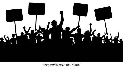 Demonstration, strike, manifestation, protest, revolution. Silhouette background vector. Sports, mob, fans. Crowd of people with flags, banners