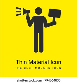 Demonstrator bright yellow material minimal icon or logo design