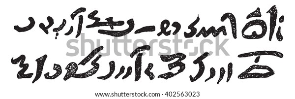 Demotic Writing Writing People Vintage Engraved Stock Vector
