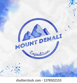 Denali logo. Round expedition blue vector insignia. Denali in Alaska, USA outdoor adventure illustration. Climbing, trekking, hiking, mountaineering and other extreme activities logo template.