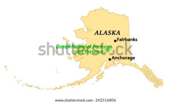 Denali National Park Preserve Locate Map Stock-Vrgrafik ... on
