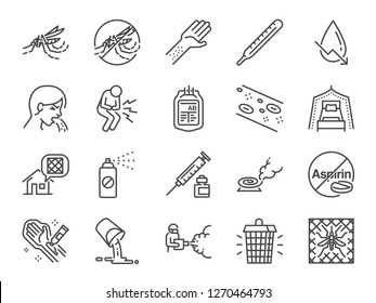 Dengue Fever line icon set. Included the icons as dengue virus, mosquito killer, Insect repellent, prevention, mosquito net and more.