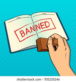 Denial of entry to country pop art style vector illustration. Visa banned red stamp. Entry to country forbidden. Comic book style imitation