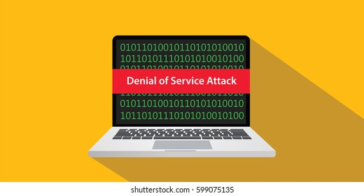 denial of service attack dos concept illustration with laptop comuputer and text banner on screen with flat style and long shadow
