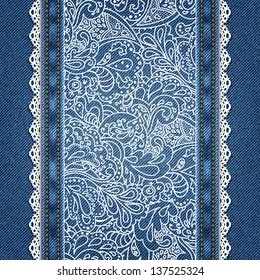 Denim background with lace and ornate floral pattern in vector EPS 10.