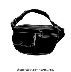 Denim, belt bag vector isolated on white background. Money bag illustration.