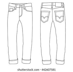 denim bottoms, jeans icon sketch