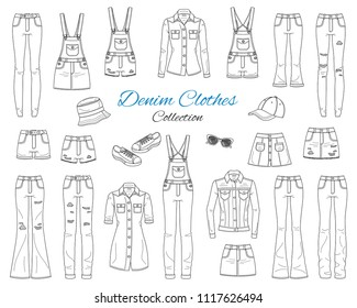 Denim clothes collection. Different types of jeans pants, jeans jacket, shirt, shorts, skirts, overalls, cap and sneakers, isolated on white background,  sketch vector illustration.